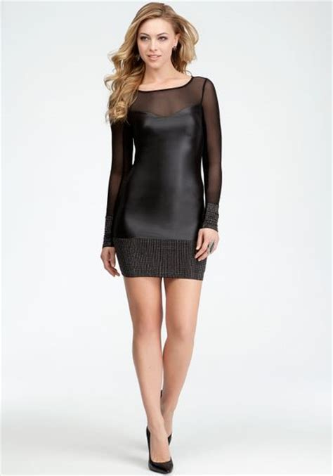 Dress Bebe Studded bebe studded band coated jersey dress in black blk lyst
