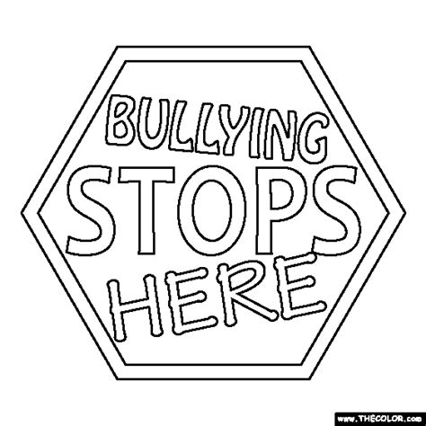 Stop Bullying Coloring Pages bullying stops here coloring page