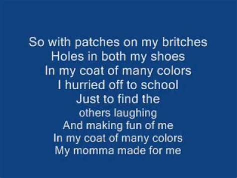 coat of many colors lyrics coat of many colors dolly parton with lyrics