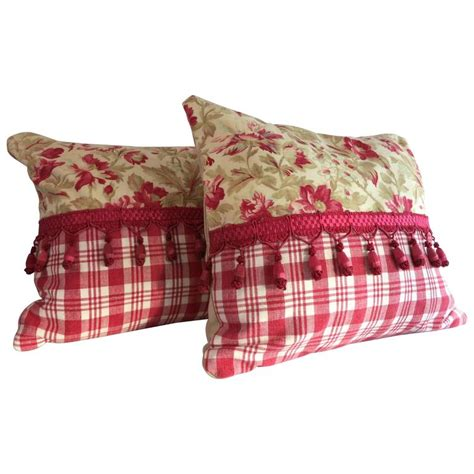 Textile Pillows by Pair Of 19th Century Antique Textile Pillows With