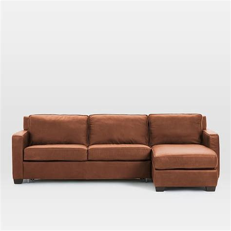henry leather sectional henry leather 2 piece pull down sleeper sectional w