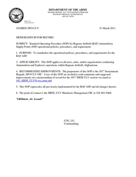 air memo for record template 6 memorandum for record exle memo formats
