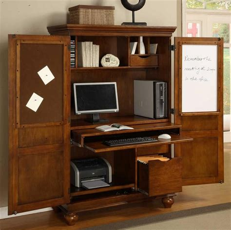 computer armoire w pull out drawer in cherry finish