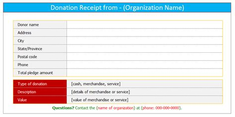 tax receipt template excel donation receipt template for word dotxes