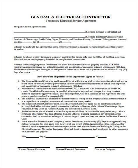 electrician contract template service agreement forms