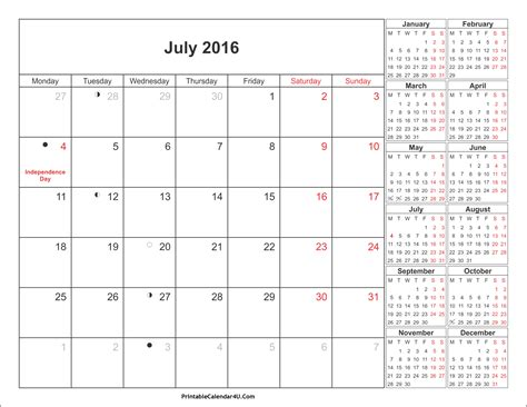 printable planner july 2016 july 2016 calendar printable with holidays pdf and jpg
