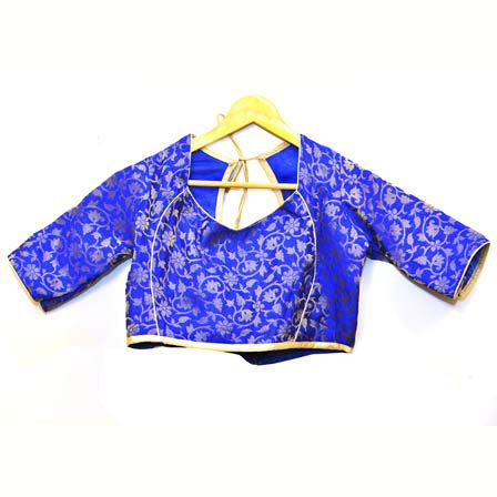 Floral Brocade Blouse blue and silver floral silk brocade blouse 30091