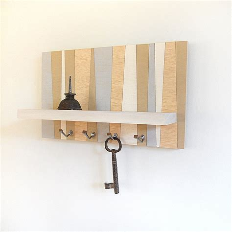 hanging wooden shelf decorative stripe geometric key rack
