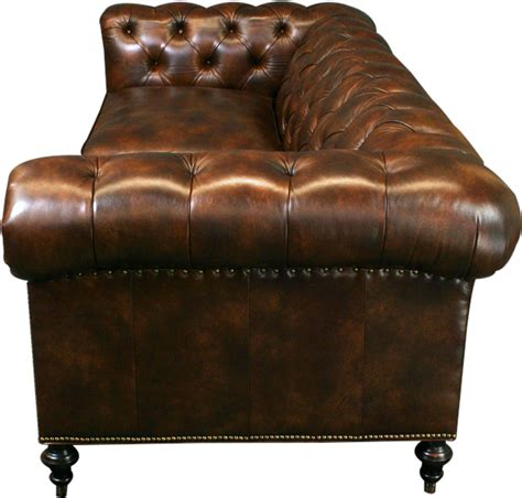 Brown Leather Sofa With Nailhead Trim by New Leather Chesterfield Sofa Wood Brown Top Grain Leather Nailhead Trim Ebay