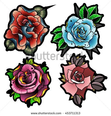 new school rose tattoo design traditional style flowers set new stock vector