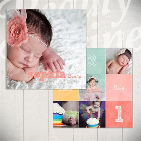 Baby Album Template Watch Me Grow First Year Book Template Album Templates For Photographers