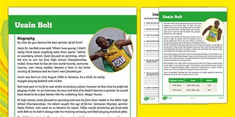 biography of usain bolt ks2 usain bolt biography differentiated reading comprehension