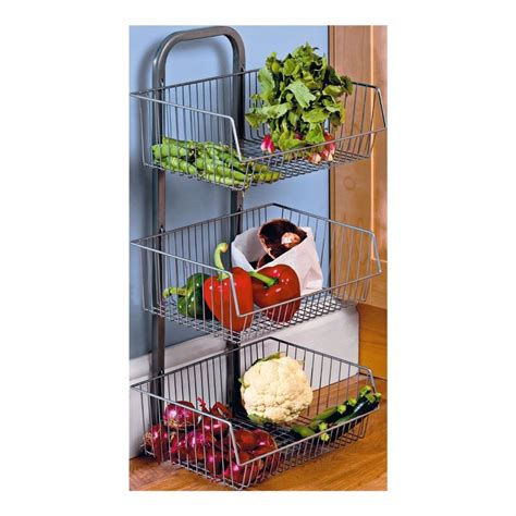 3 Tier Metal Vegetable Fruit Stand Rack Silver Kitchen Vegetable Rack For Kitchen