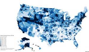 us income map by region median household income by us county visual ly
