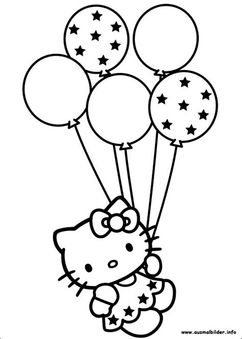 hello kitty coloring birthday card coloring pages