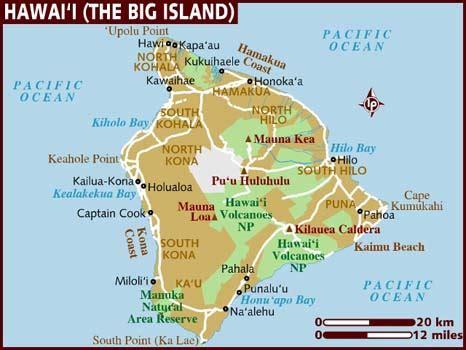 hawaii big island map map of hawaii the big island