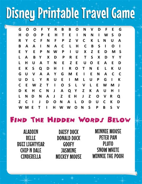 printable toddler travel games road trip tips bring this free disney word search more