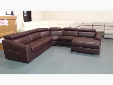 Ex Display Leather Sofas Ex Display Elixir Ivory Leather Electric Recliner Corner Sofa With Chaise Lounge Outside