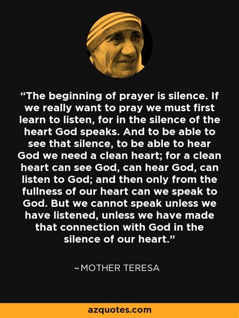 mother teresa quote  beginning  prayer  silence
