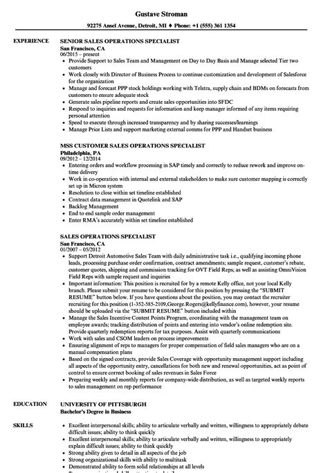 Operations Assistant Sle Resume by Sales Operations Specialist Resume Sles Velvet