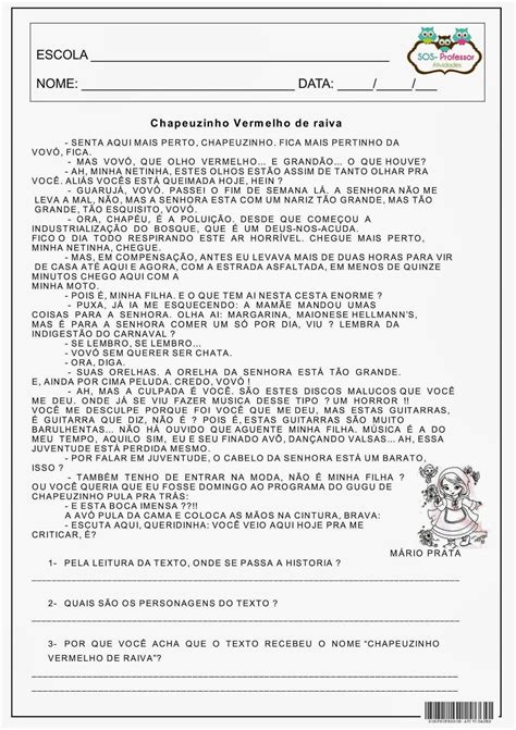INTERPRETAÇÃO DE TEXTO - CHAPEUZINHO VERMELHO