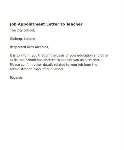 appointment letter for a school 49 appointment letter exles sles pdf doc