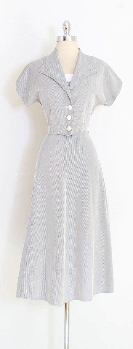 Dress Cotton Si 1188 vintage 1940s dress textured cotton black white stripe matching bolero button front