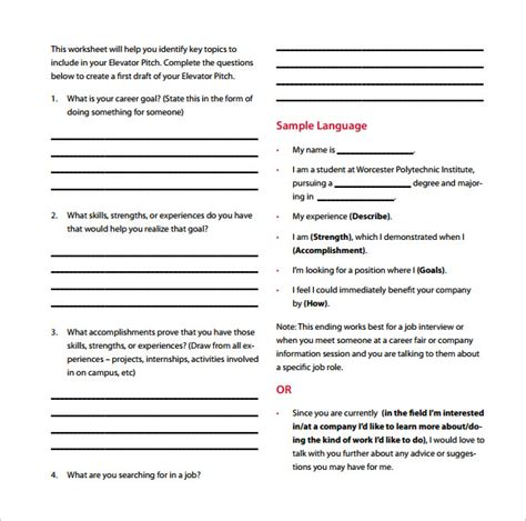 elevator template sle elevator pitch template 11 free documents in pdf