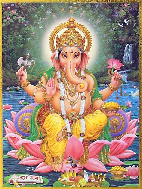 Ganesh On Lotus Zenreal Ganesha Divindade Hindu
