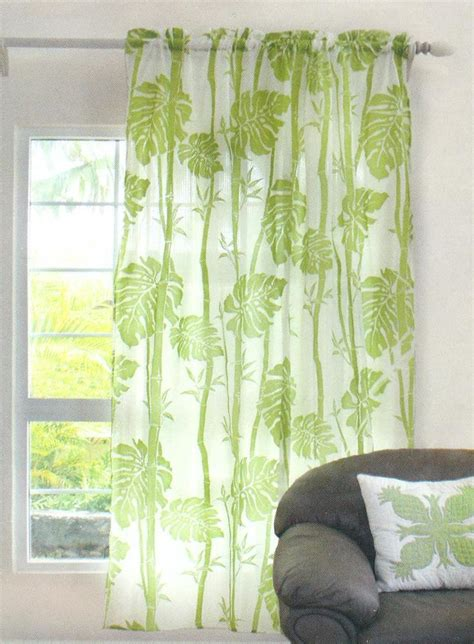 Tropical Window Curtains Hawaiian Tropical 1 Sheer Panel Window Treatment Curtain Drape Floral Green Ebay