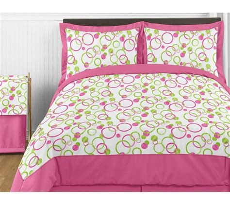 circles pink and green childrens bedding 4pc twin set