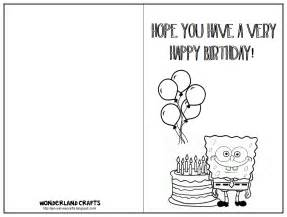 Birthday Card Printable Template Wonderland Crafts Birthday