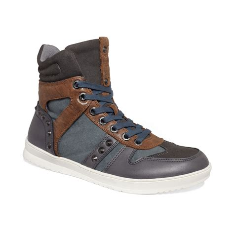 guess shoes guess mens shoes tredd sneakers in gray for grey lyst