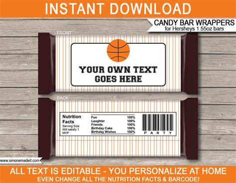 Personalized Chocolate Wrappers Template basketball hershey bar wrappers personalized