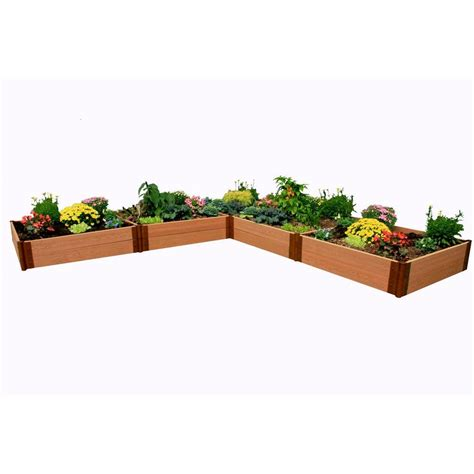 Frame It All Raised Garden Bed Kit Frame It All One Inch Series 12 Ft X 12 Ft X 11 In Composite L Shaped Raised Garden Bed Kit