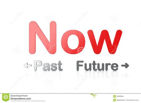 And Now A Word From by Timeline Concept 3d Word Past Now Future Stock Photo