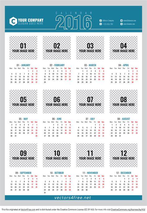 calendar poster template free poster calendar 2016 vector free vector