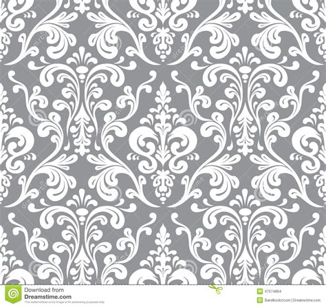 pattern white and gray vector seamless elegant damask pattern stock