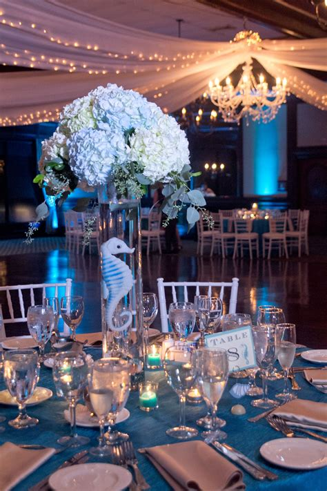 blue and white hydrangea centerpieces wedding