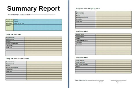 free templates for reports free summary report template free reports