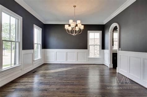 dark gray dining room ooooo very pretty gray on top white on bottom love the