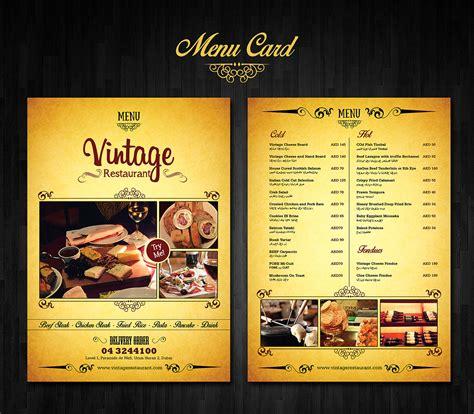 design a menu card menu card design on behance