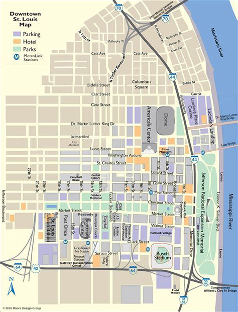 map of st louis louis downtown map
