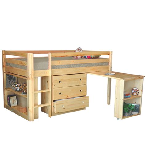 Junior Kids Twin Loft Bed With Desk Chest Book Shelf Natural