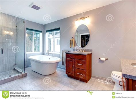 home interior bathroom mirror and sink stock photo image beautiful grey new modern bathroom interior royalty free
