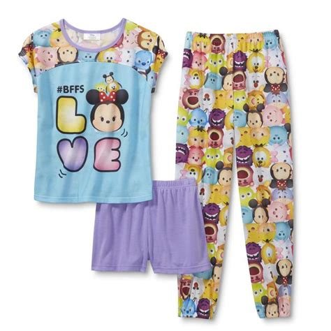Pajamas Glow In The Tsum Tsum Friends Set 2in1 Baju Celana disney tsum tsum pajama top shorts
