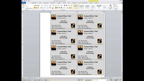 card in microsoft word word how to create custom business cards
