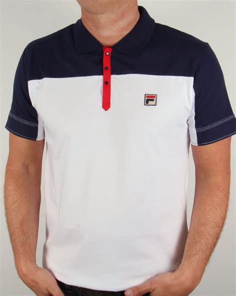 Polo Shirt Fila Keren Terlaris fila vintage corsair polo shirt white navy mens classic retro