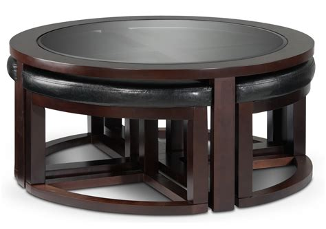 Coffee Table With 4 Ottomans Neera Coffee Table W Four Ottomans Black 39 S Brown Coffee Table And 4 Stool Set Ottoman W