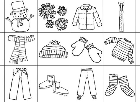 coloring page of winter clothes az coloring pages